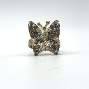 Jewelry - Butterfly Ring, Silver Tone Gray Crystal Stone